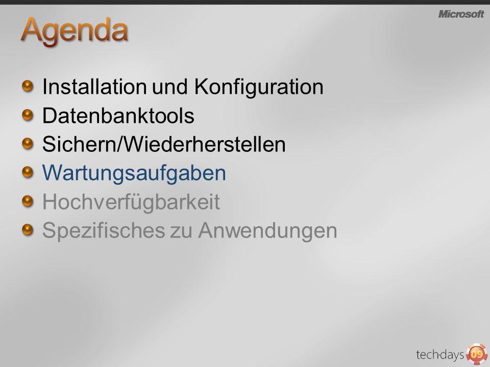 Agenda Installation und Konfiguration Datenbanktools