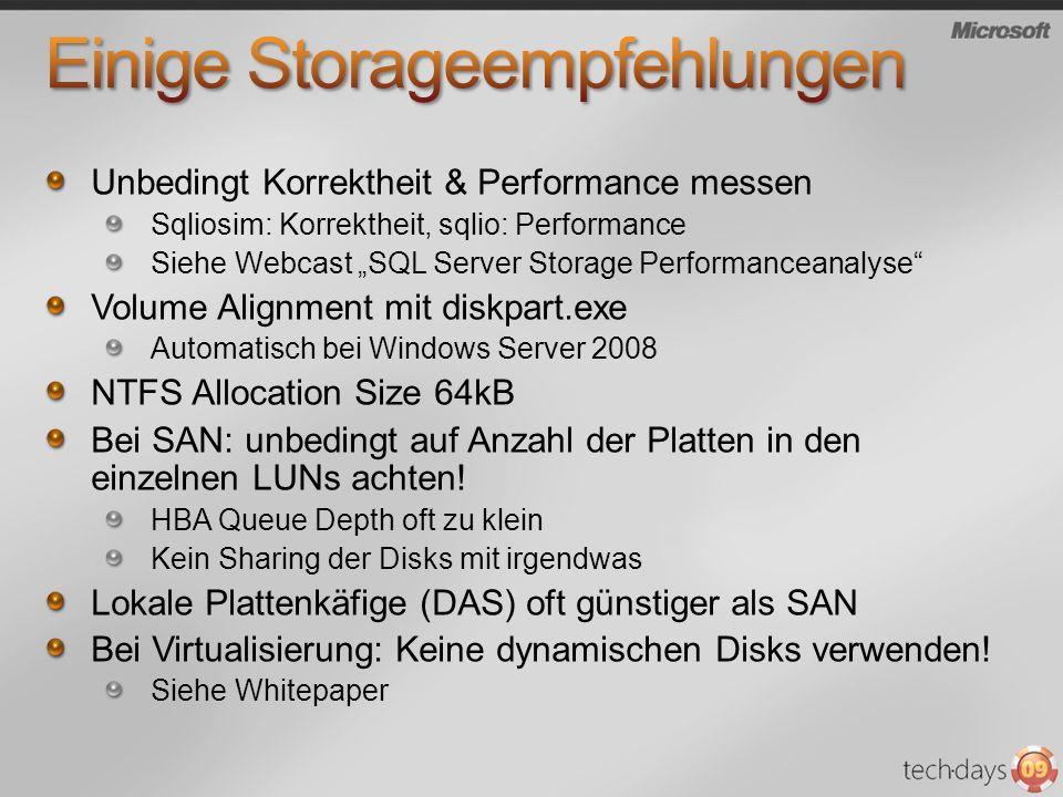 Einige Storageempfehlungen