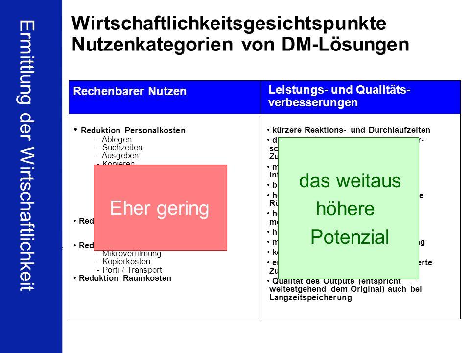 Wirtschaftlichkeitsgesichtspunkte Nutzenkategorien von DM-Lösungen