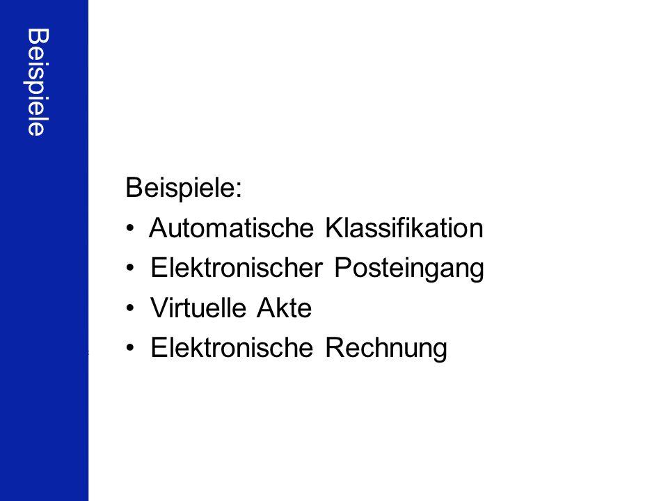 Beispiele Beispiele: Automatische Klassifikation.