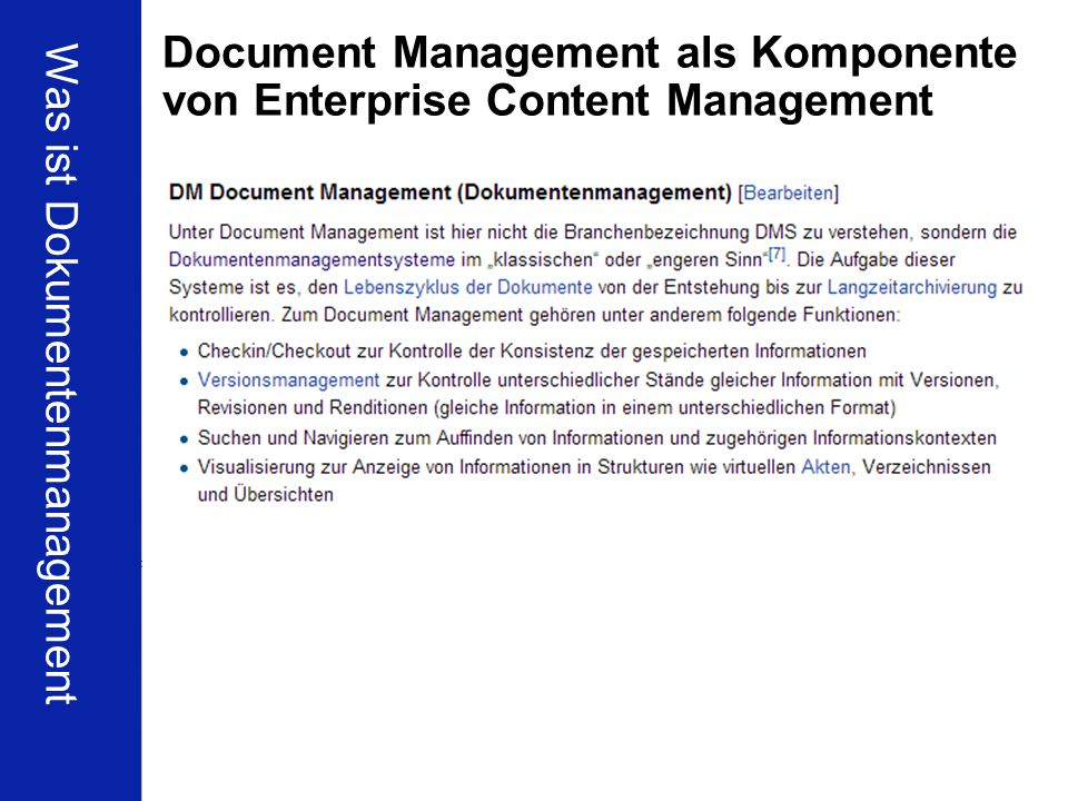 Document Management als Komponente von Enterprise Content Management