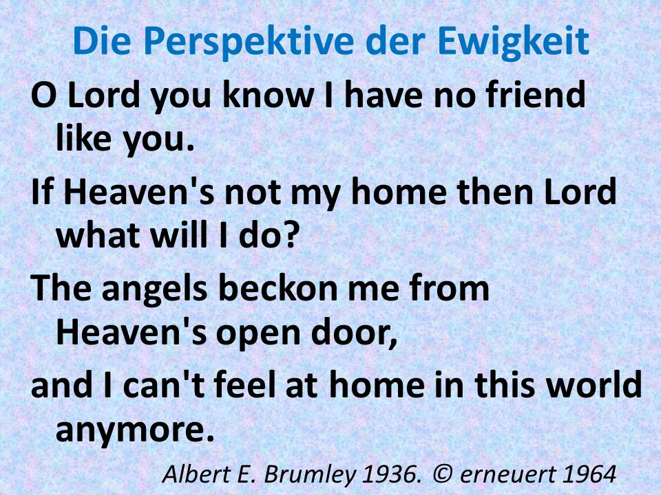 Die Perspektive der Ewigkeit