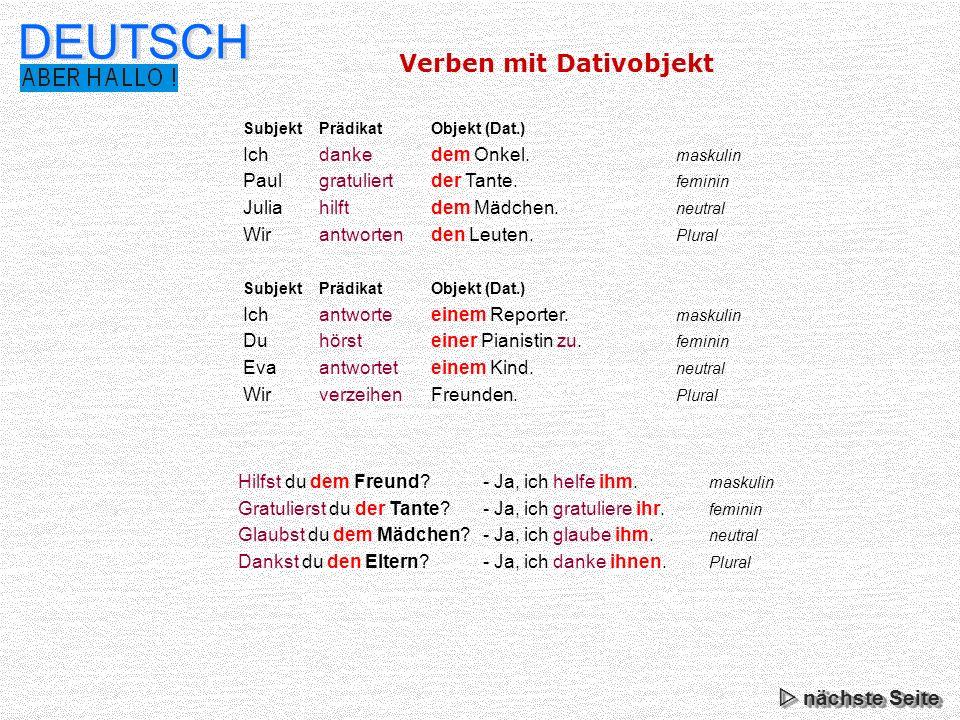 DEUTSCH Verben mit Dativobjekt  nächste Seite