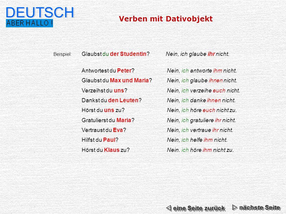 DEUTSCH Verben mit Dativobjekt  eine Seite zurück  nächste Seite