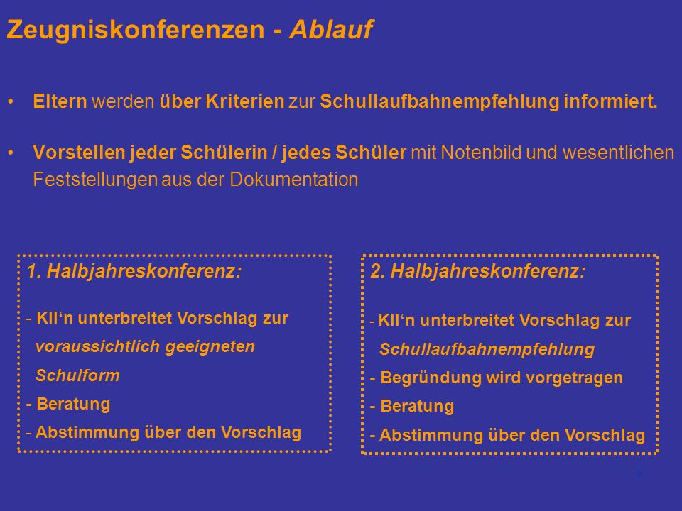 Zeugniskonferenzen - Ablauf
