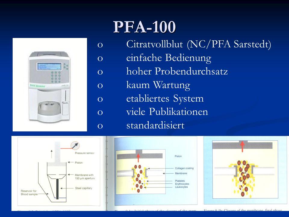 PFA-100 Citratvollblut (NC/PFA Sarstedt) einfache Bedienung