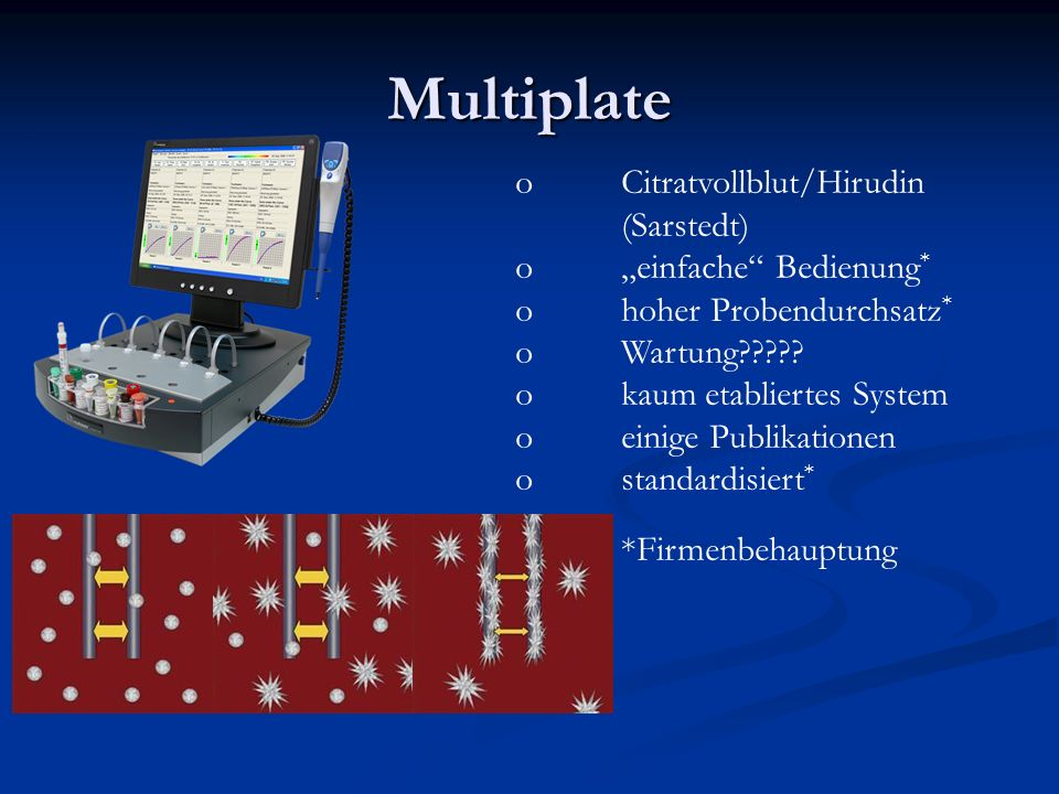 """Multiplate Citratvollblut/Hirudin (Sarstedt) """"einfache Bedienung*"""