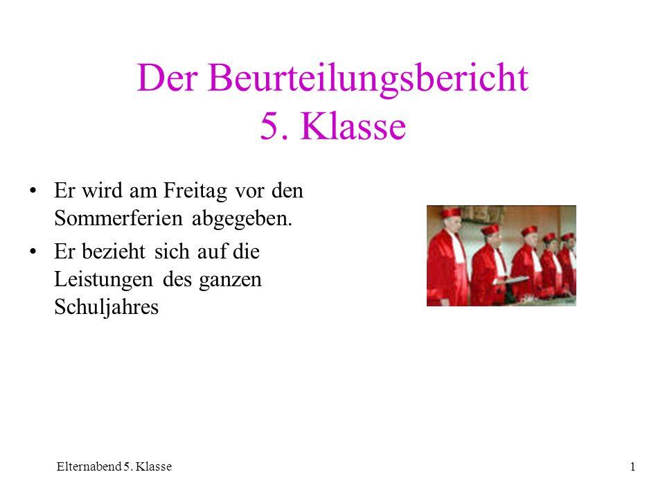 Der Beurteilungsbericht 5. Klasse