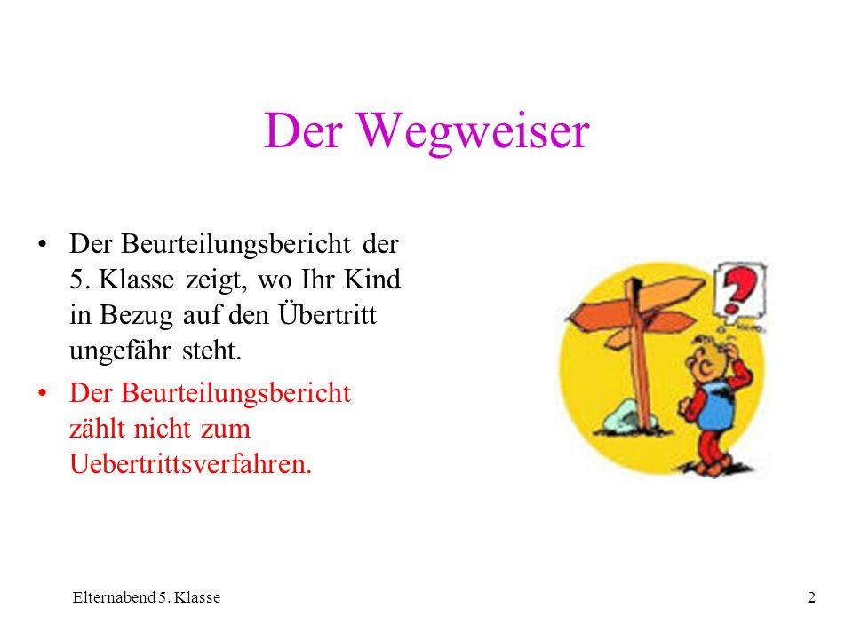 Der WegweiserDer Beurteilungsbericht der 5. Klasse zeigt, wo Ihr Kind in Bezug auf den Übertritt ungefähr steht.