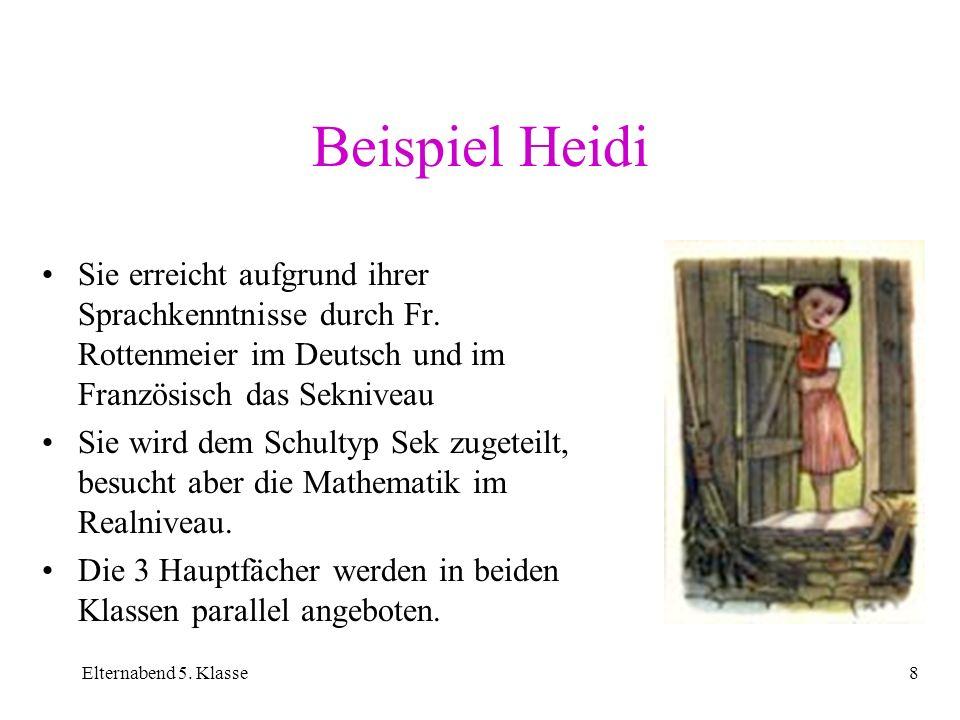 Beispiel HeidiSie erreicht aufgrund ihrer Sprachkenntnisse durch Fr. Rottenmeier im Deutsch und im Französisch das Sekniveau.