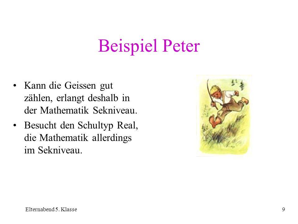 Beispiel Peter Kann die Geissen gut zählen, erlangt deshalb in der Mathematik Sekniveau.