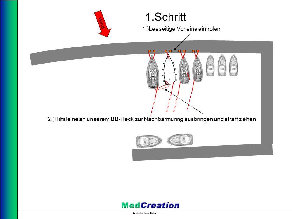 1.Schritt 1.)Leeseitige Vorleine einholen