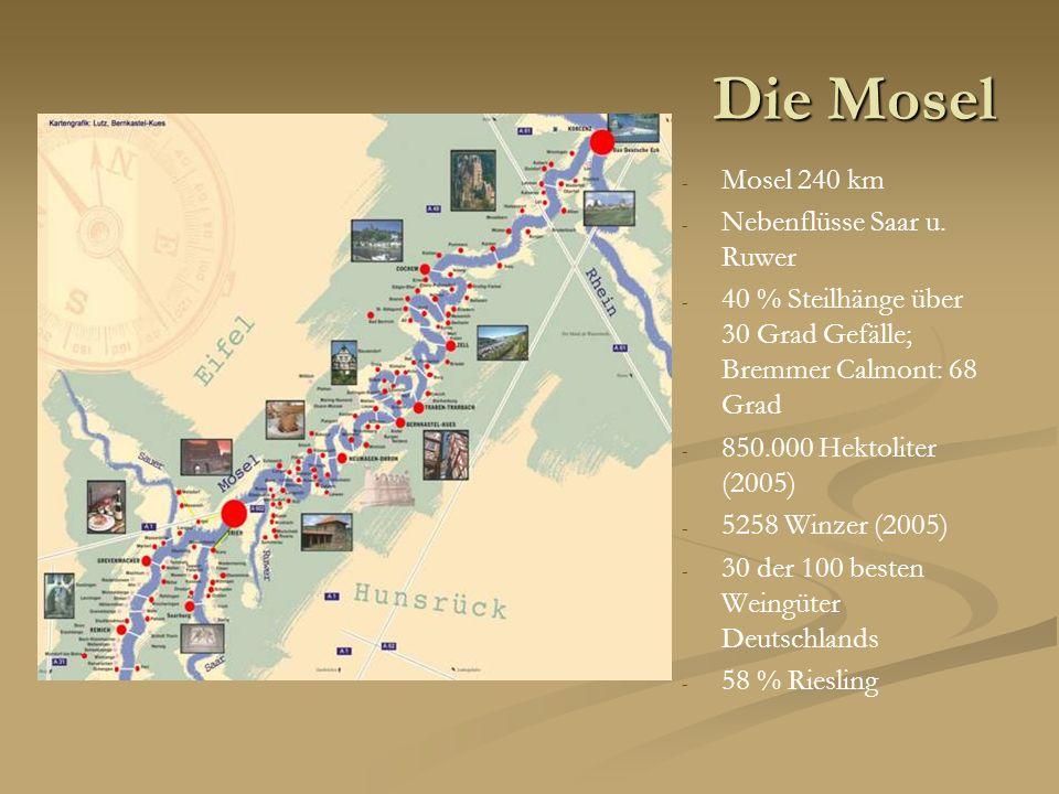 Die Mosel Mosel 240 km Nebenflüsse Saar u. Ruwer