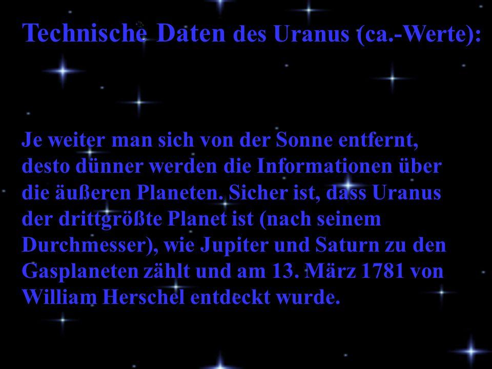 Technische Daten des Uranus (ca.-Werte):