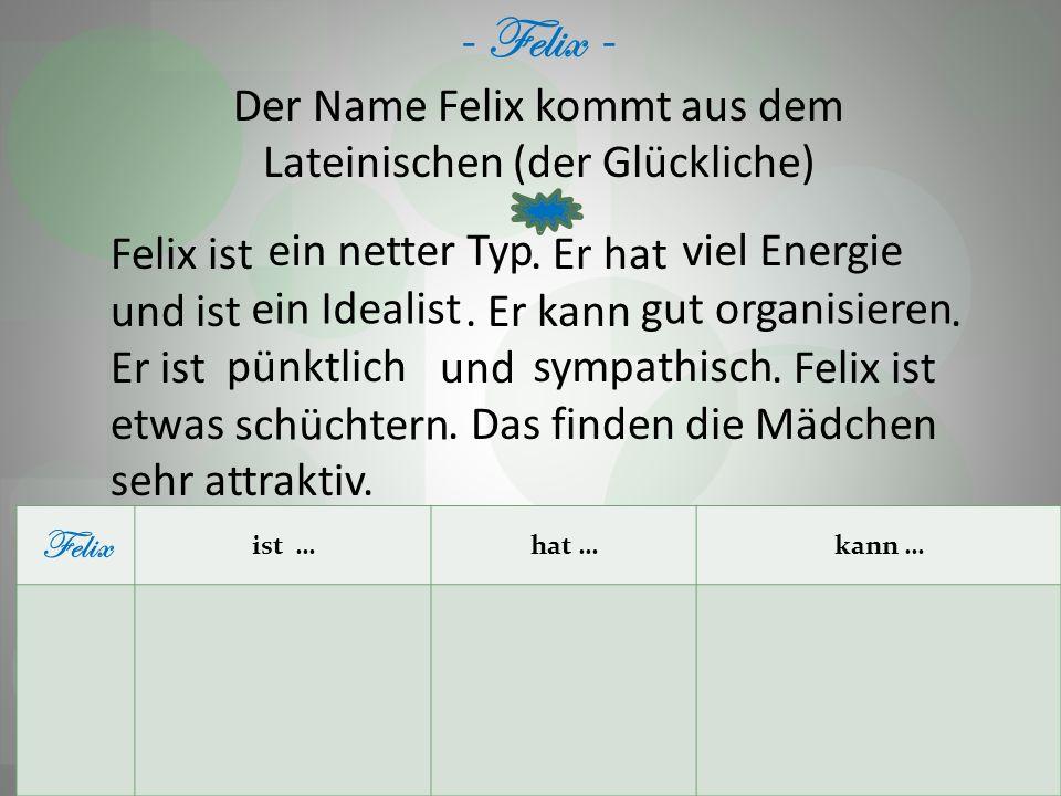 Der Name Felix kommt aus dem Lateinischen (der Glückliche)