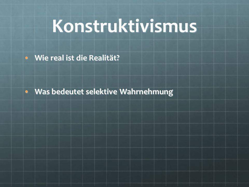 Konstruktivismus Wie real ist die Realität