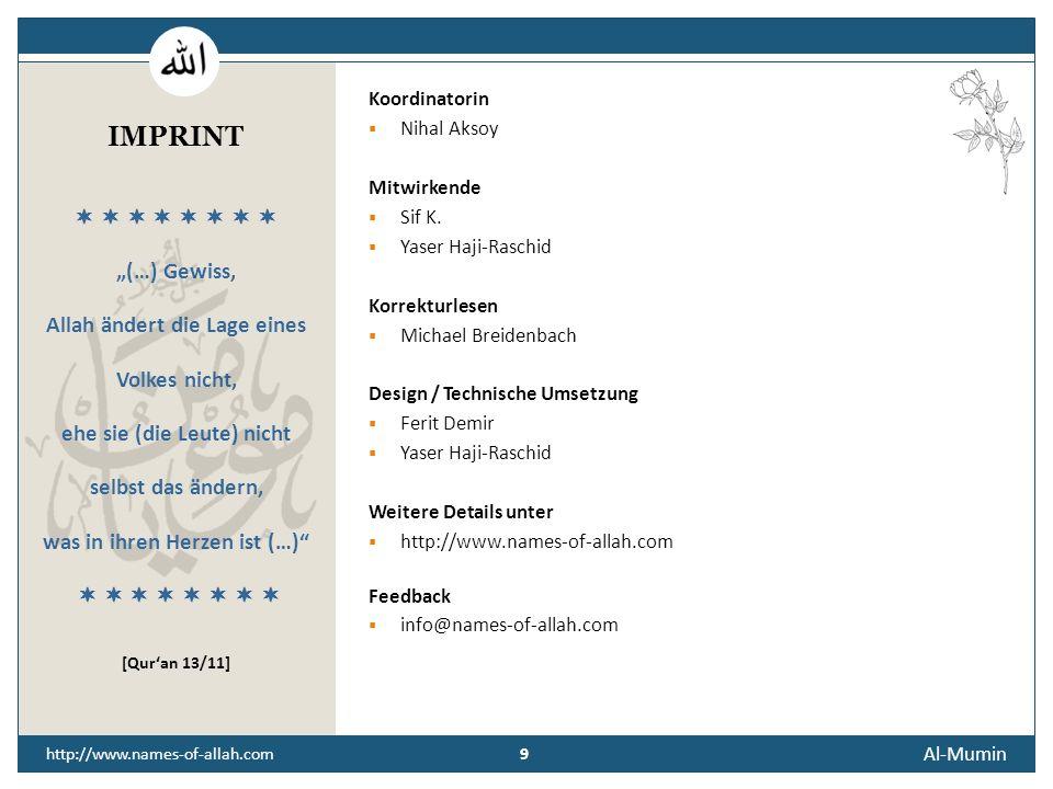 """IMPRINT """"(…) Gewiss, Allah ändert die Lage eines Volkes nicht,"""