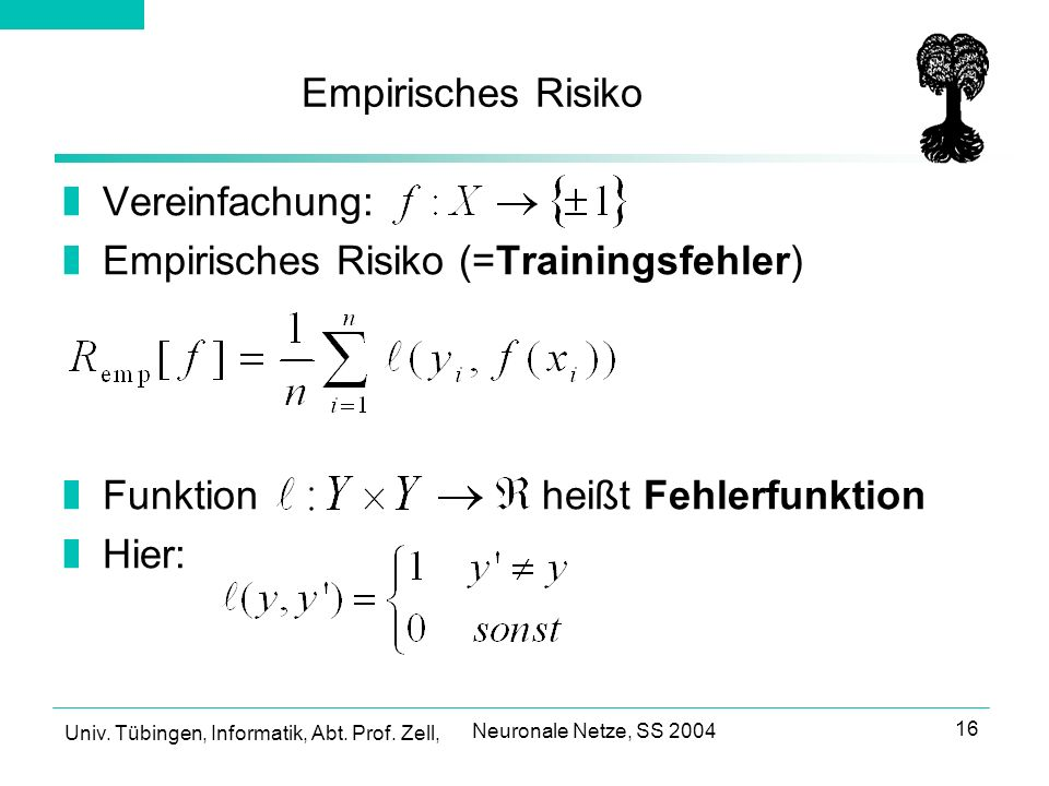 Empirisches Risiko (=Trainingsfehler)