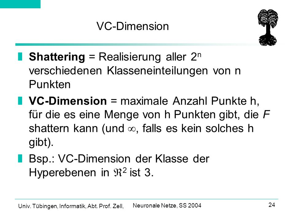 Bsp.: VC-Dimension der Klasse der Hyperebenen in 2 ist 3.