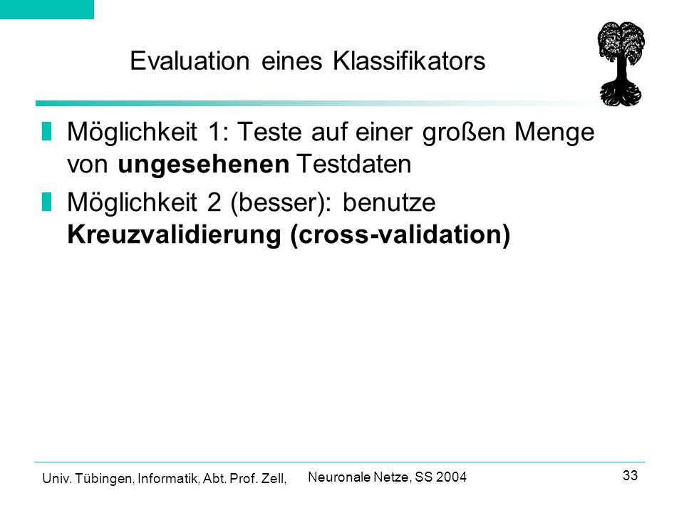 Evaluation eines Klassifikators