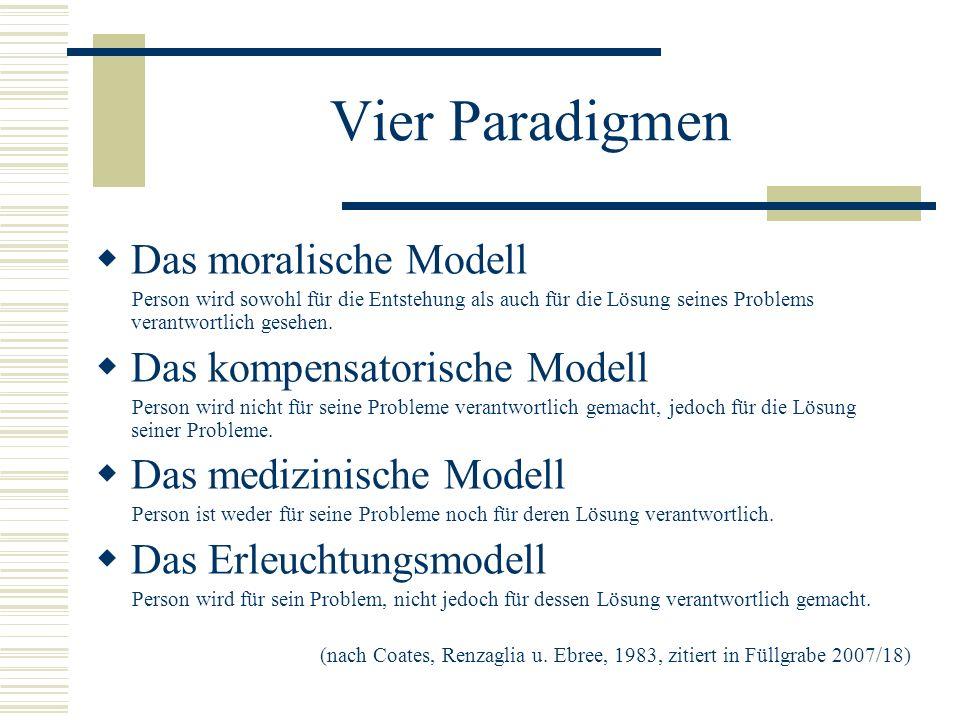 Vier Paradigmen Das moralische Modell Das kompensatorische Modell
