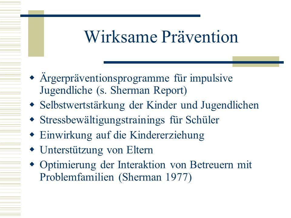 Wirksame Prävention Ärgerpräventionsprogramme für impulsive Jugendliche (s. Sherman Report) Selbstwertstärkung der Kinder und Jugendlichen.