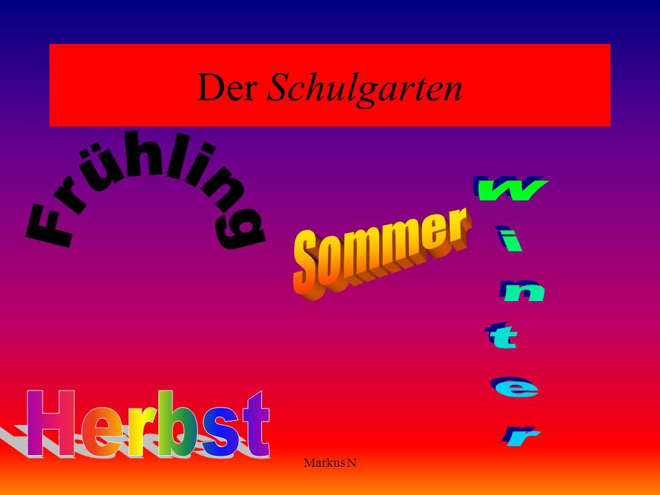 Der Schulgarten Frühling Sommer Winter Herbst Markus N