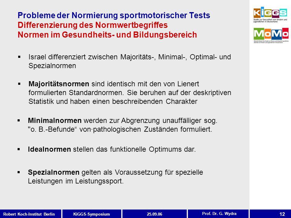 Probleme der Normierung sportmotorischer Tests Differenzierung des Normwertbegriffes Normen im Gesundheits- und Bildungsbereich
