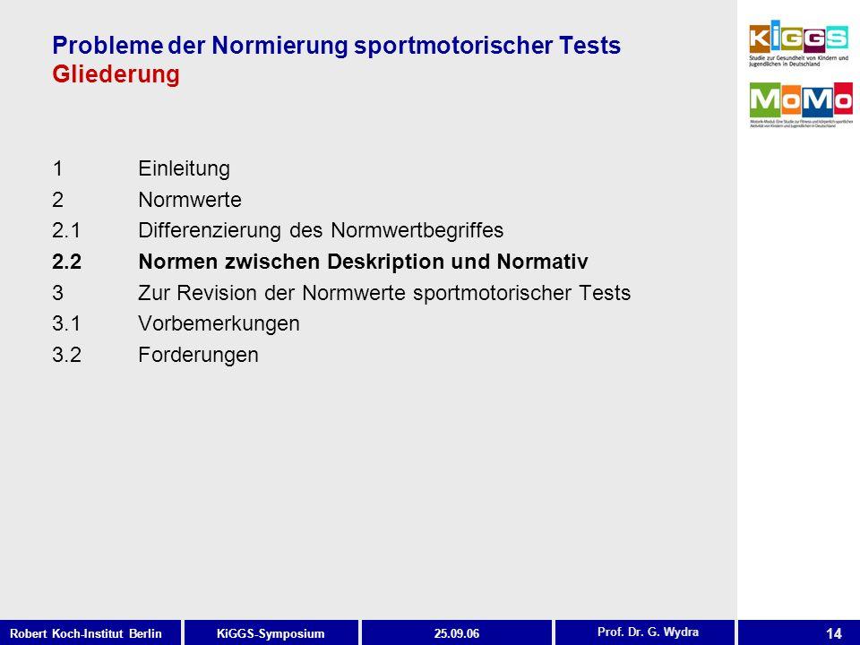 Probleme der Normierung sportmotorischer Tests Gliederung