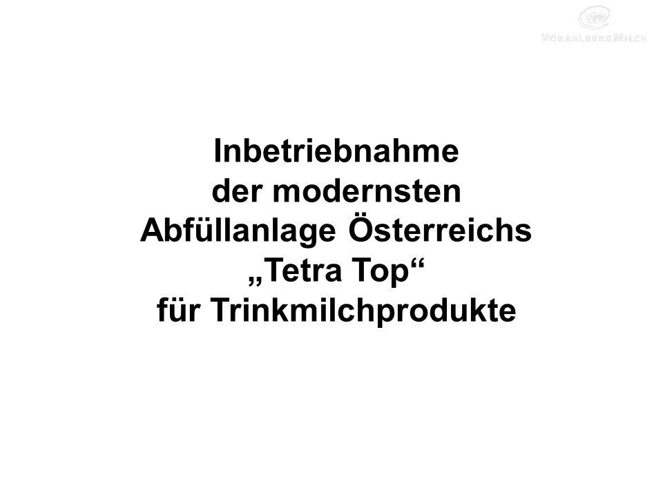 """Inbetriebnahme der modernsten Abfüllanlage Österreichs """"Tetra Top für Trinkmilchprodukte"""