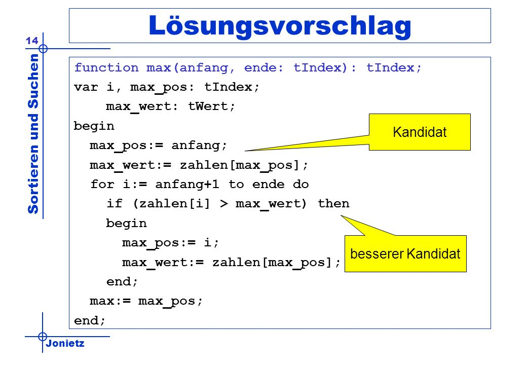 Lösungsvorschlag function max(anfang, ende: tIndex): tIndex;