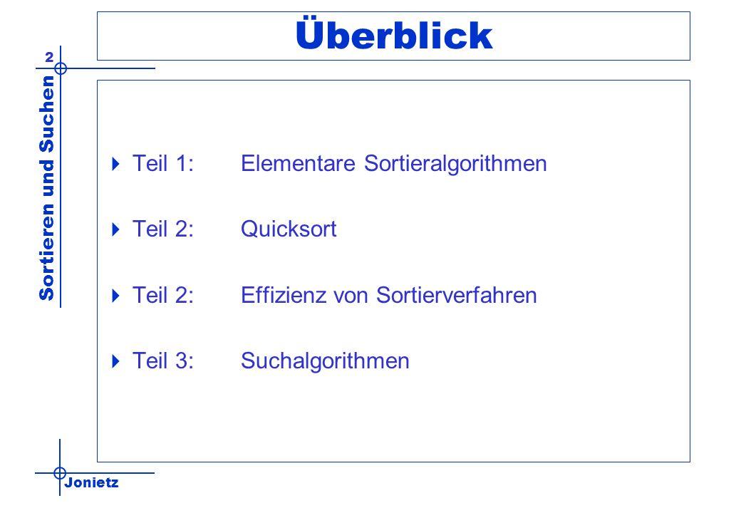 Überblick Teil 1: Elementare Sortieralgorithmen Teil 2: Quicksort