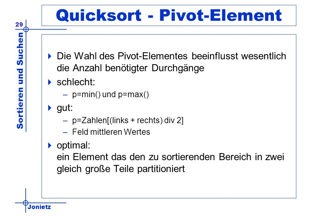 Quicksort - Pivot-Element