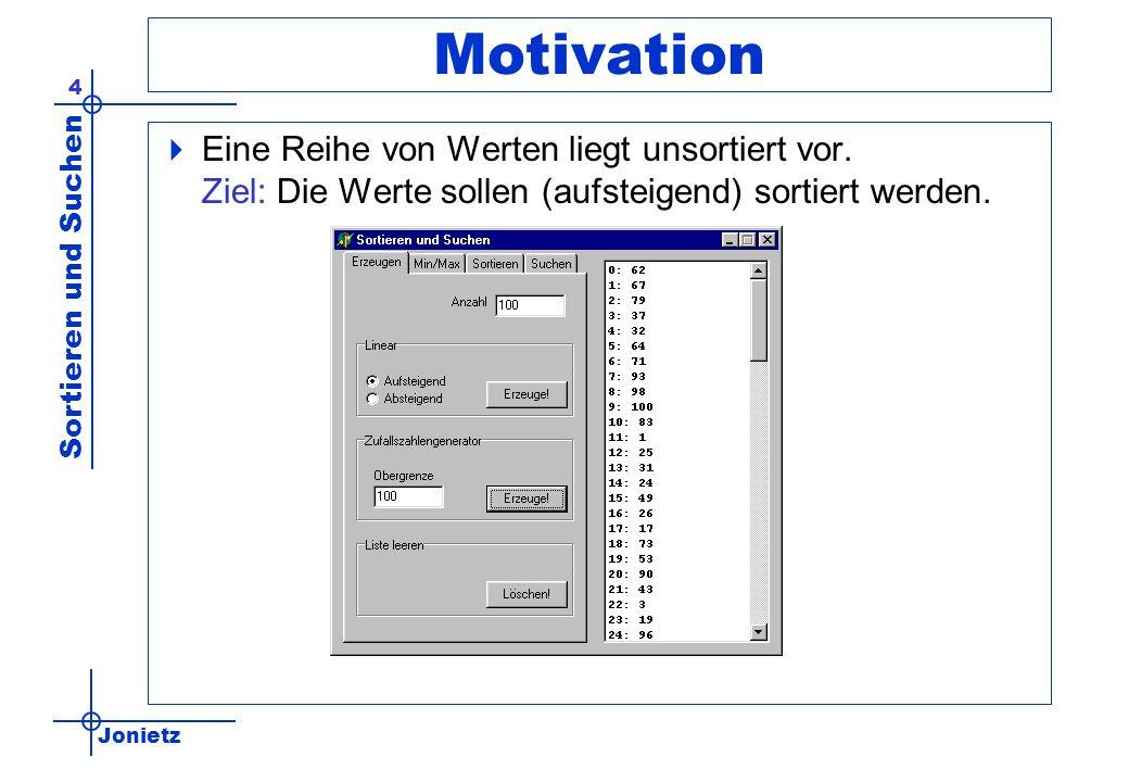 Motivation Eine Reihe von Werten liegt unsortiert vor.