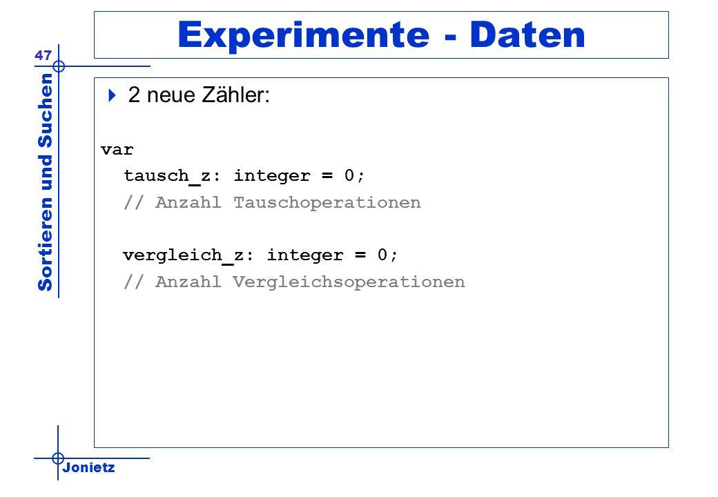 Experimente - Daten 2 neue Zähler: var tausch_z: integer = 0;
