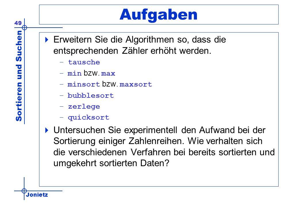 Aufgaben Erweitern Sie die Algorithmen so, dass die entsprechenden Zähler erhöht werden. tausche. min bzw. max.