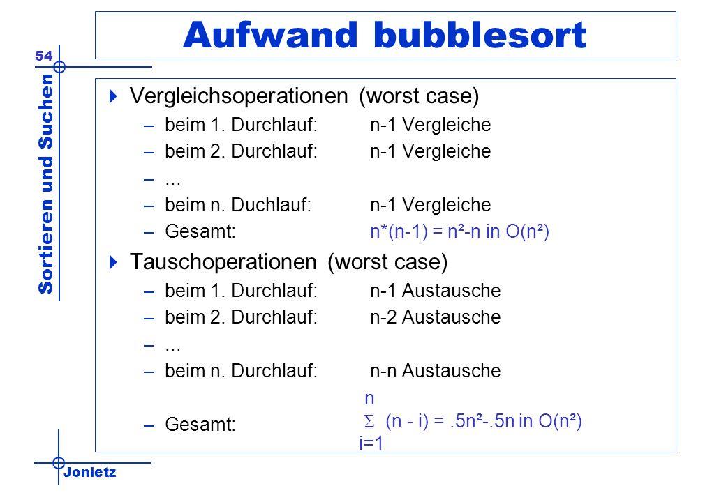 Aufwand bubblesort Vergleichsoperationen (worst case)