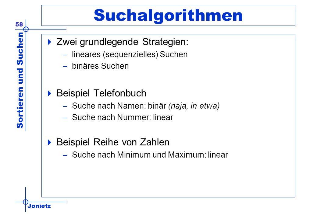 Suchalgorithmen Zwei grundlegende Strategien: Beispiel Telefonbuch