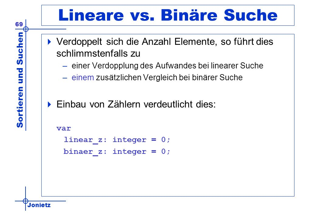 Lineare vs. Binäre Suche