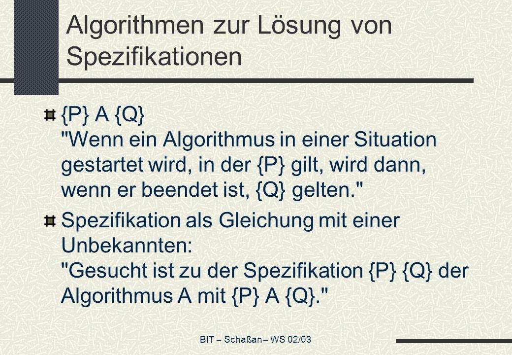 Algorithmen zur Lösung von Spezifikationen