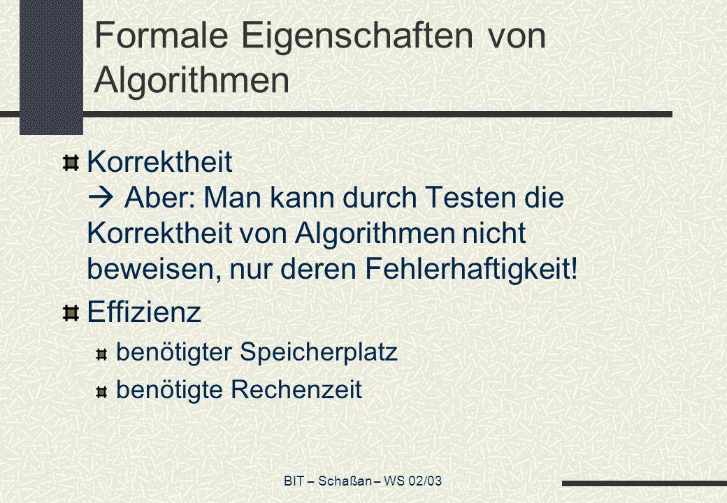 Formale Eigenschaften von Algorithmen