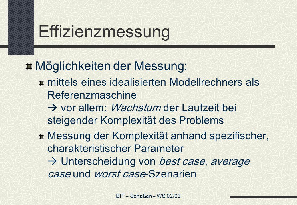 Effizienzmessung Möglichkeiten der Messung: