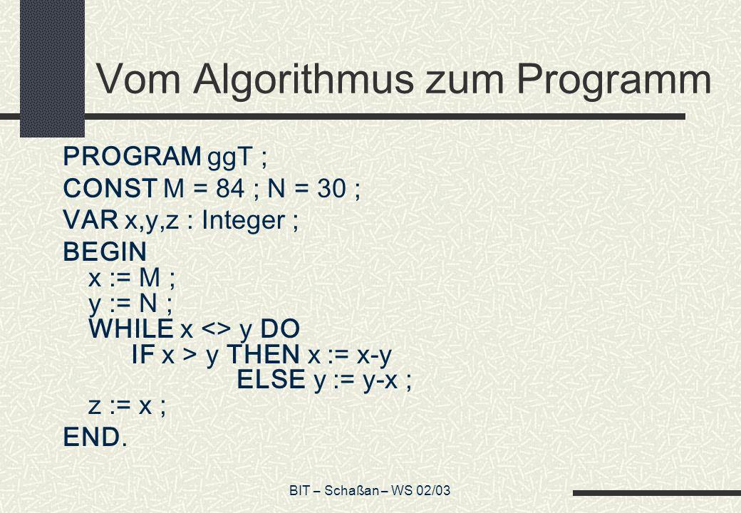 Vom Algorithmus zum Programm