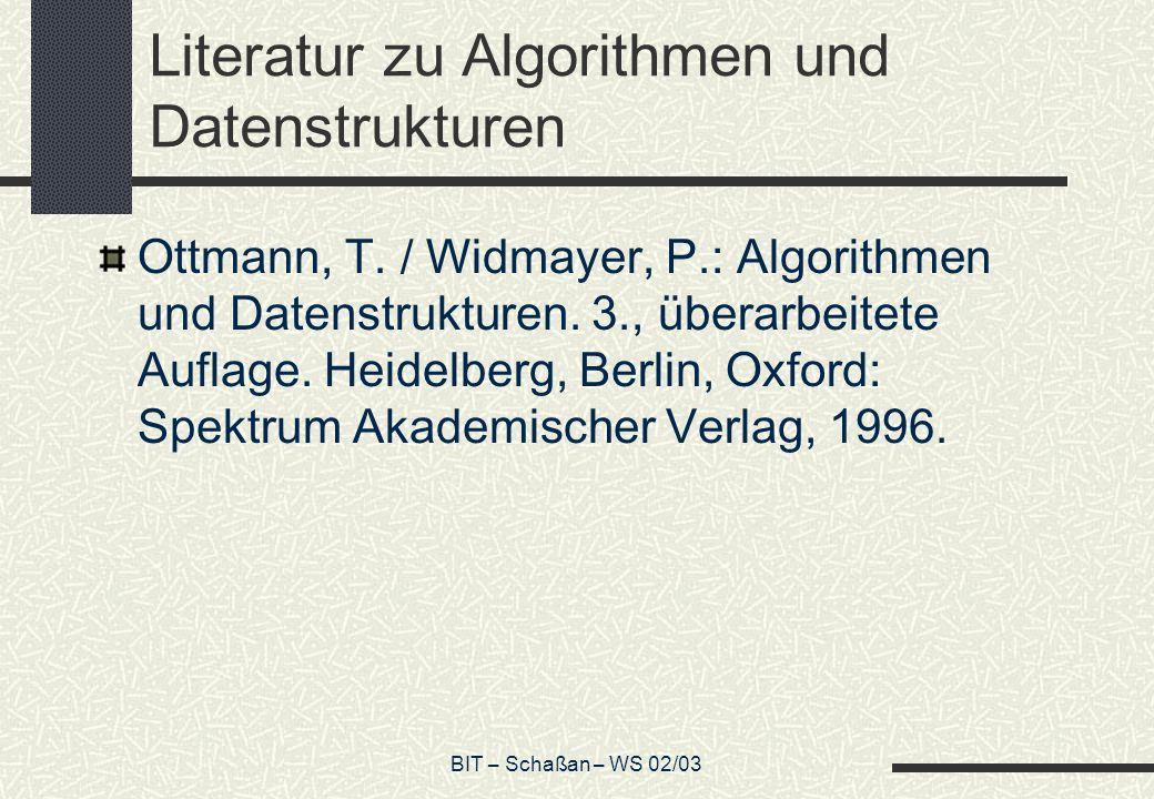 Literatur zu Algorithmen und Datenstrukturen