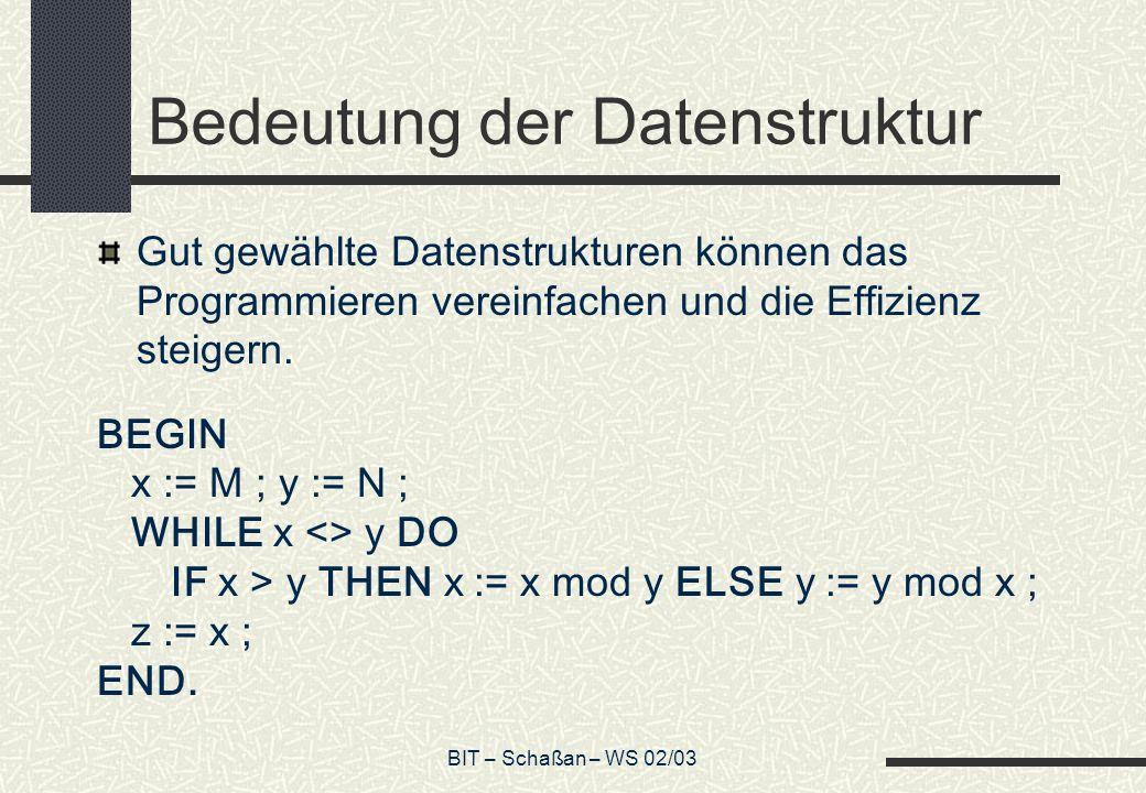 Bedeutung der Datenstruktur