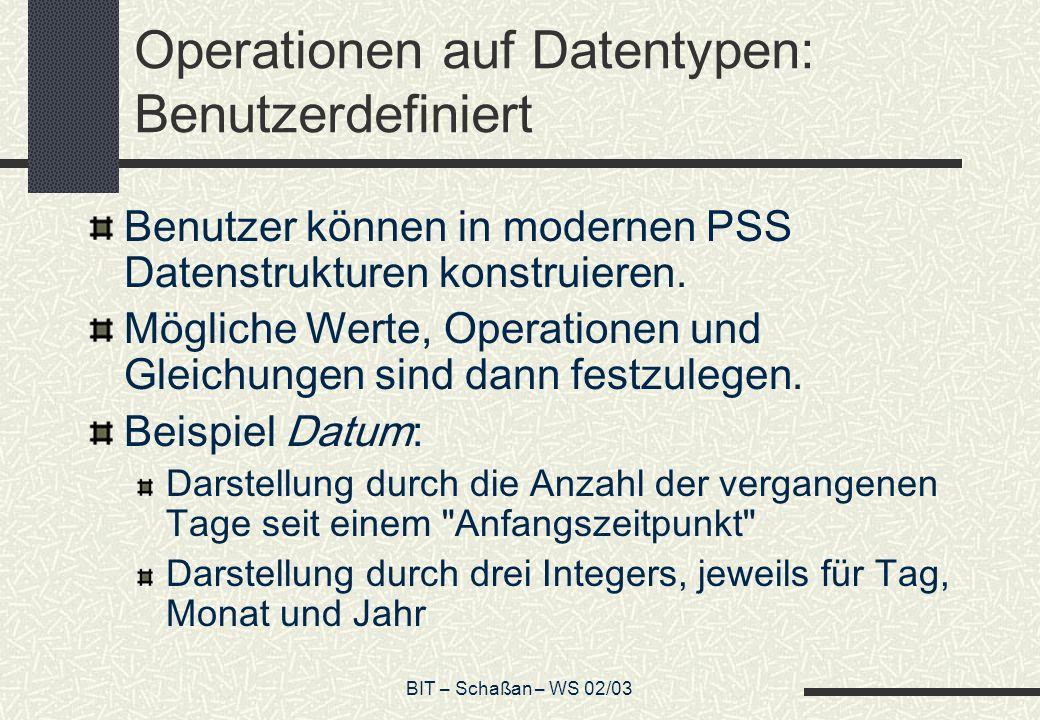 Operationen auf Datentypen: Benutzerdefiniert