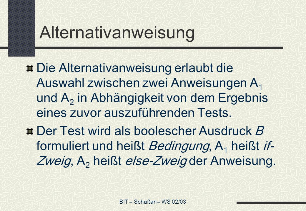 Alternativanweisung