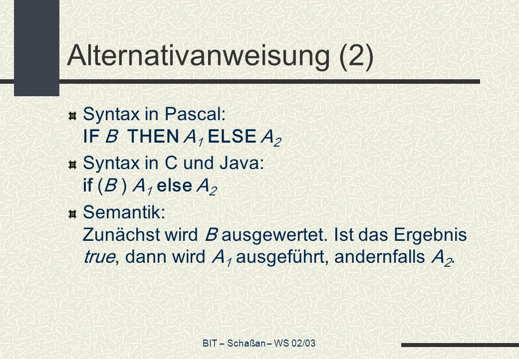 Alternativanweisung (2)