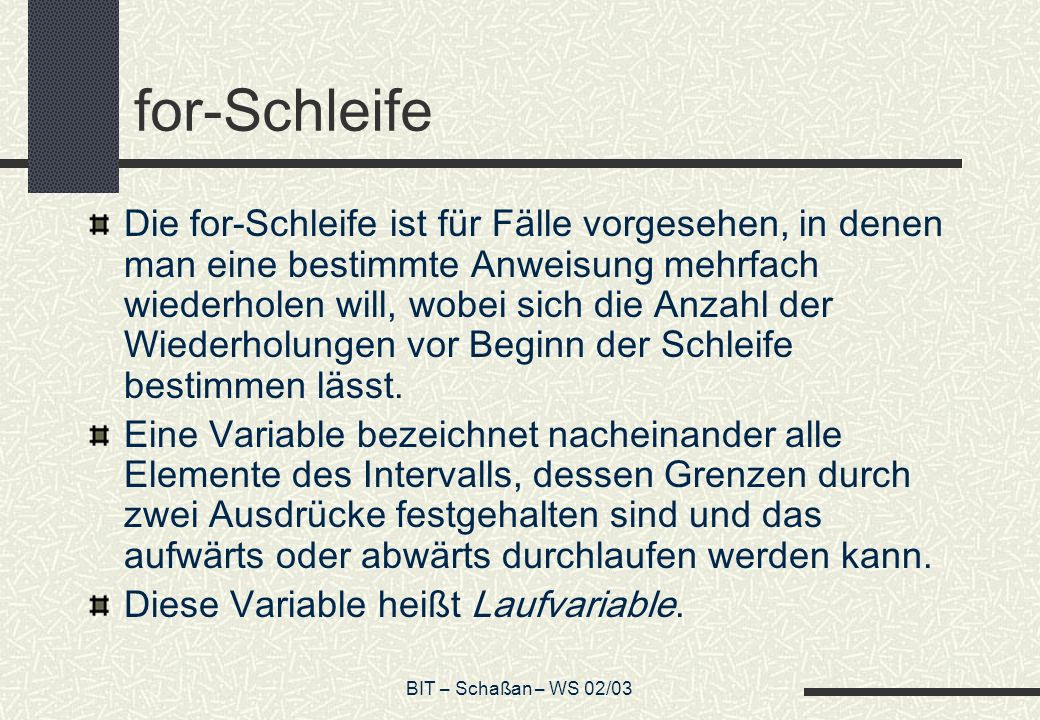 for-Schleife
