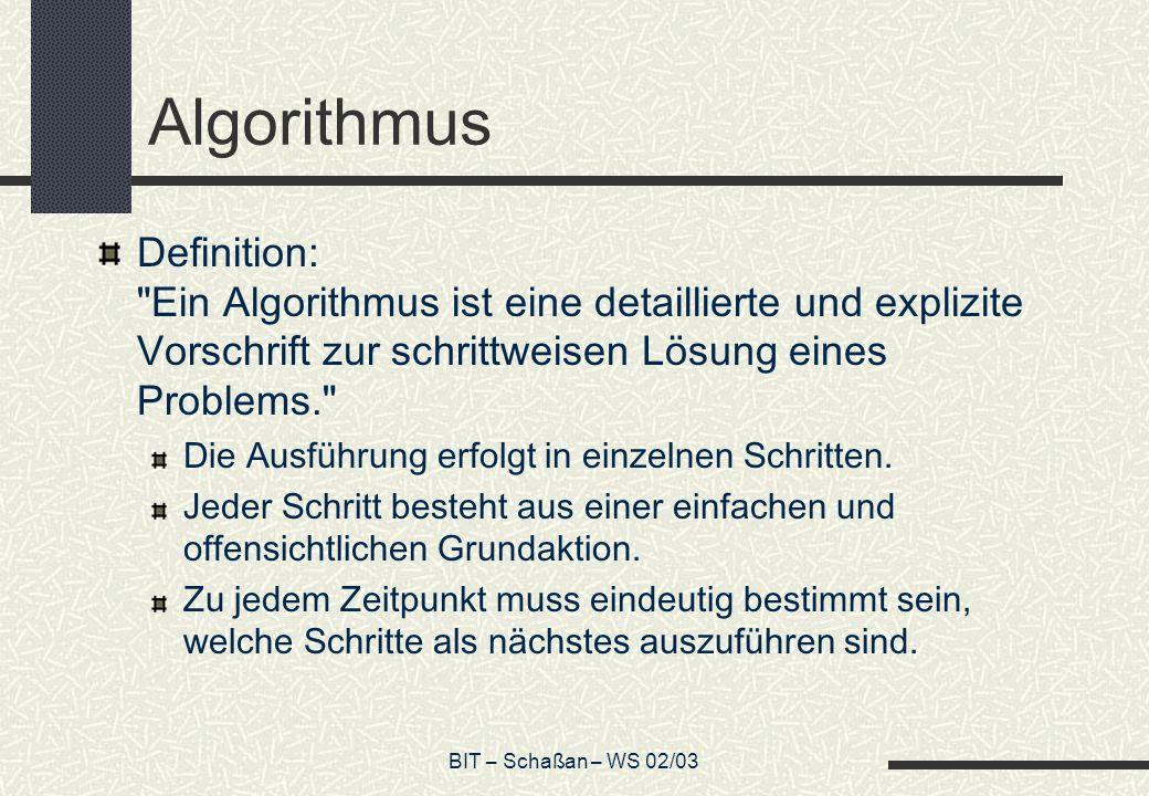 Algorithmus Definition: Ein Algorithmus ist eine detaillierte und explizite Vorschrift zur schrittweisen Lösung eines Problems.